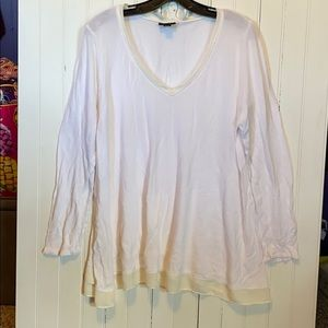 a.n.a V-Neck Sweater with Chiffon Detail White 0X
